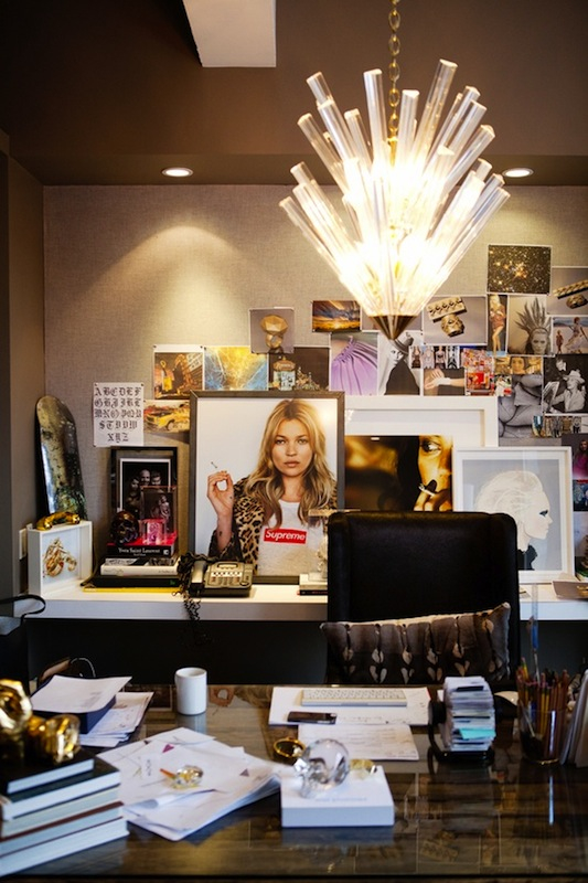 Office Interior Design Ideas - Jennifer Fisher's office published in Matchbook magazine - office design - kate moss photos - interior design project budget - office furniture - glamorous offices - luxury desks
