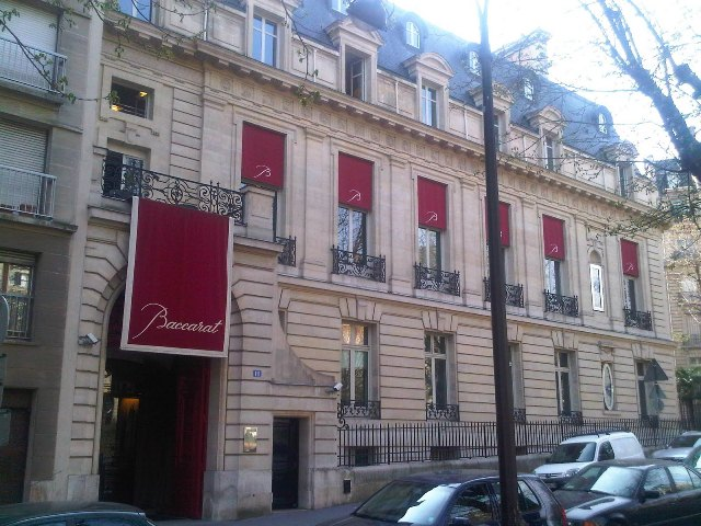 The façade of the Baccarat House in Paris