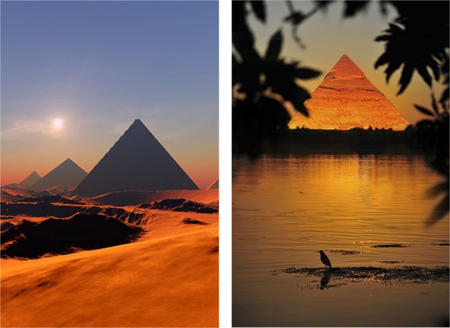 Landscapes in Egypt: Pyramid and Nile River at sunshine
