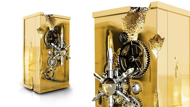 Golden safe Millionaire by Boca do Lobo  Design Christmas Gifts for Men Boca do lobo millionaire golden rich safe box jewel 01
