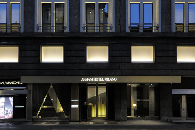 Armani Hotel Milano entrance reflects the power of the enormous brand Giorgio Armani.  Armani Hotel Milano - Luxury Hotels iSaloni 2013 Armani Hotel Milano powerfull entrance