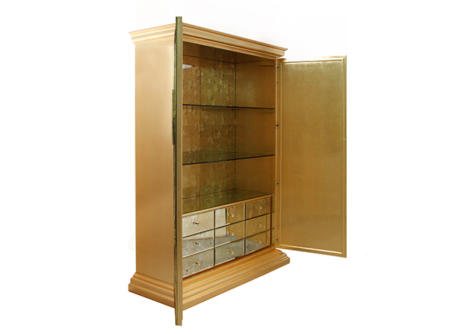 Mademoiselle armoire by Koket gold leaf interior