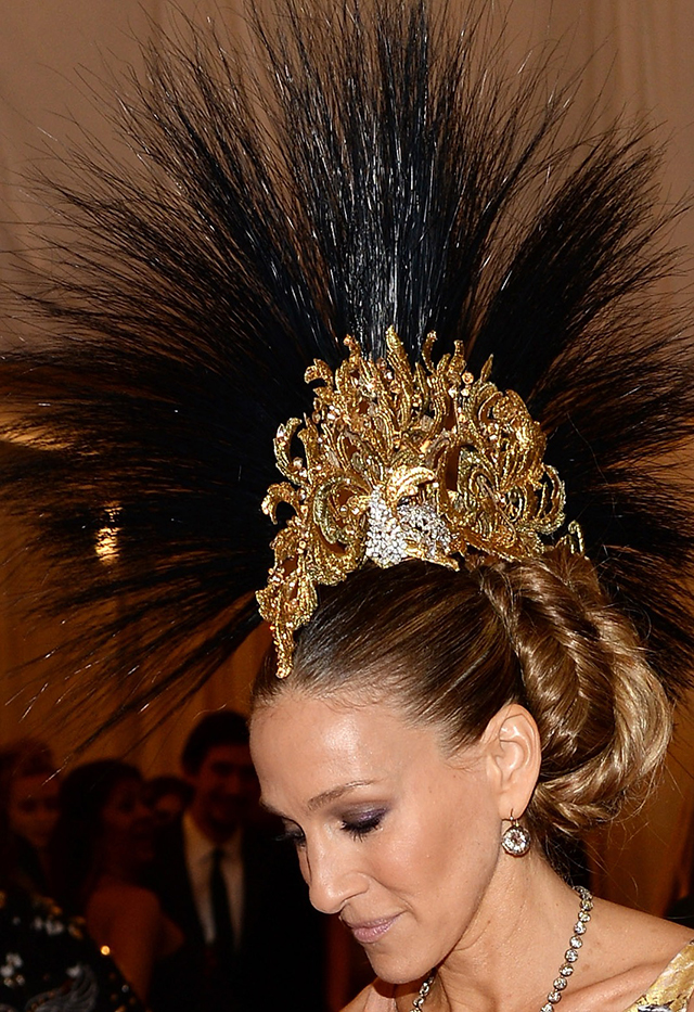 Punk fashion at met gala 2013: Sarah Jessica Parker with Philip Treacy headpiece.