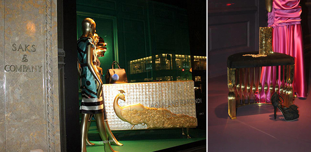 Saks Fifth Avenue window displays with KOKET furniture and Dolce & Gabbana dresses.
