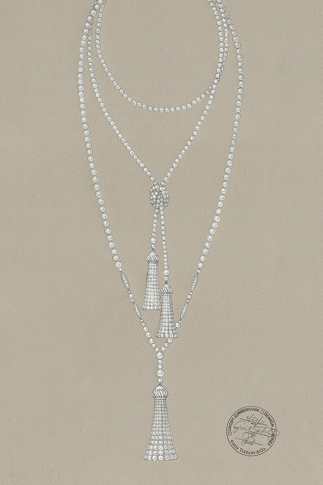 2019 year look- Necklace pearl sketch photo