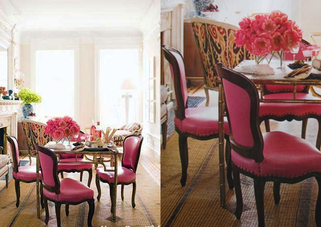 Interior by Jonathan Berger with Italian gilt-brass game table surrounded by chairs covered in pink leather from Global Leathers.  Pink Decoration Projects pink furniture interiors by jonathan berger