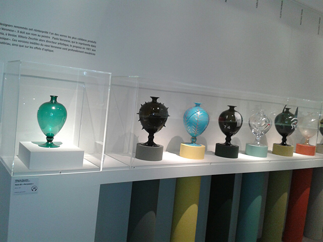 Veronese Vases Vittorio Zecchin and othersat Fragile - Murano exhibition in Musee Maillol, Paris.