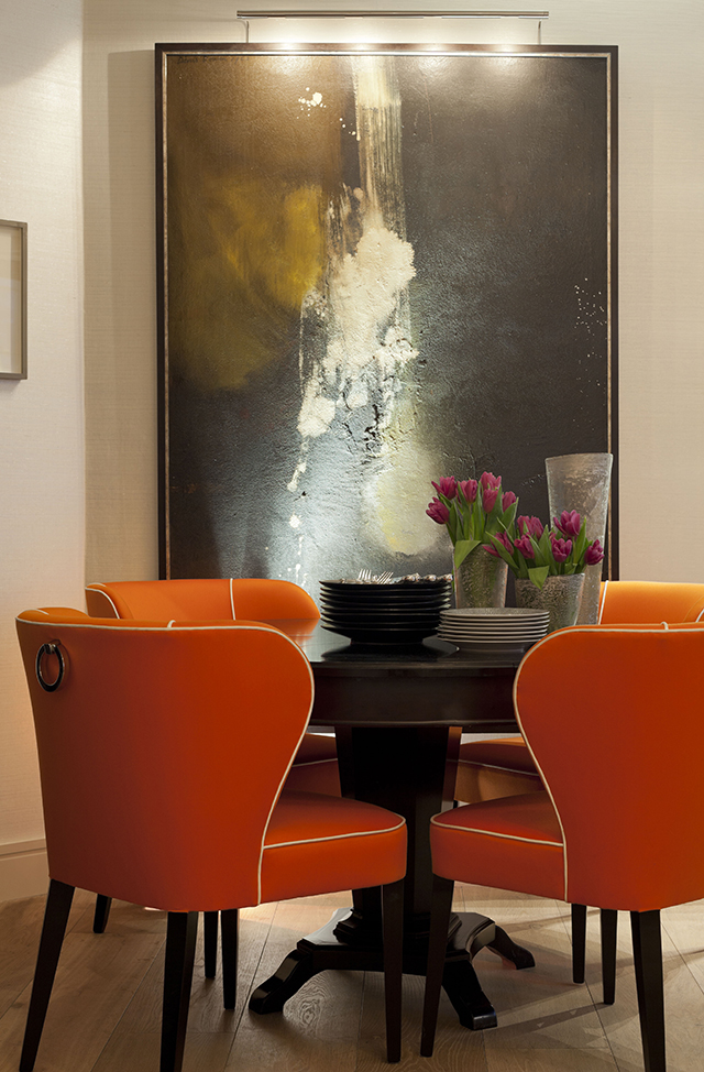 Orange chairs and table at Karen Howes' flat in Mayfair, London. | Special Interview with Karen Howes Special Interview with Karen Howes Special Interview with Karen Howes karen howes home mayfair london by taylor howes