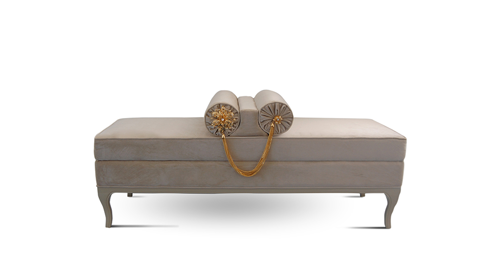 An affair with luxury. Shown upholstered in a sensuous cream velvet, with a solid wood high-gloss lacquer base and 2 crystal jeweled bolsters.
