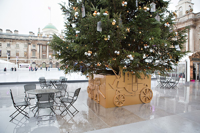 Coach designed Christmas tree at Somerset House London detail