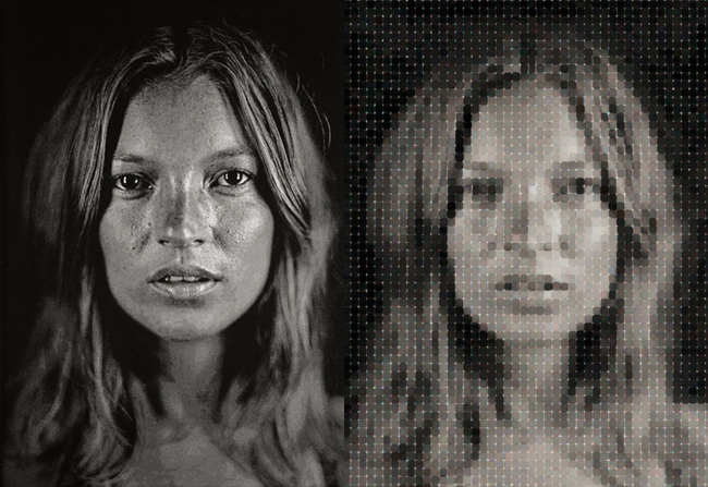 Kate Moss with watercolor pigment by Chuck Close | Fine Art – Top 15 Artists – Chuck Close