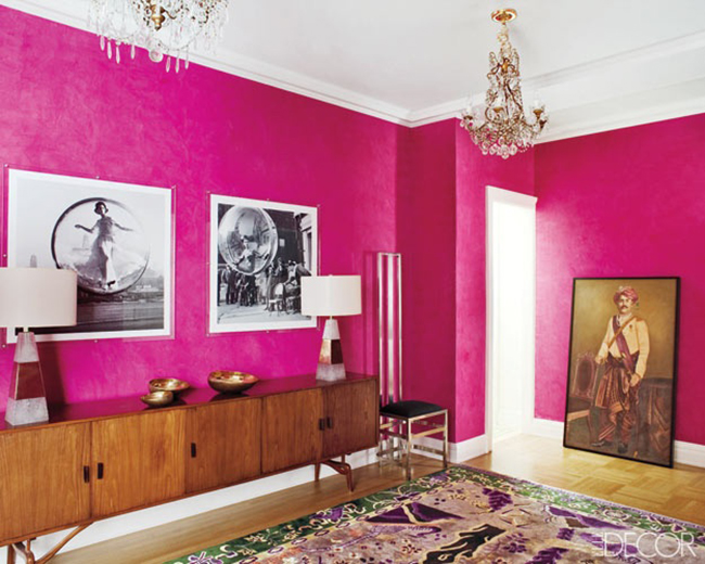 interior with pink walls Spring Fashion at Home by Elle Decor: Pop of Pink