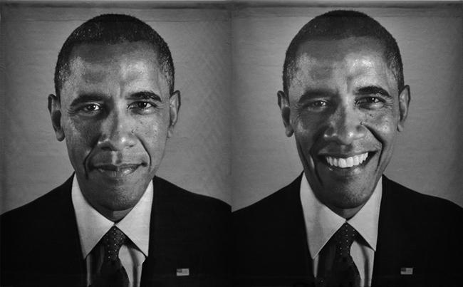 President Barack Obama portrait by Chuck Close