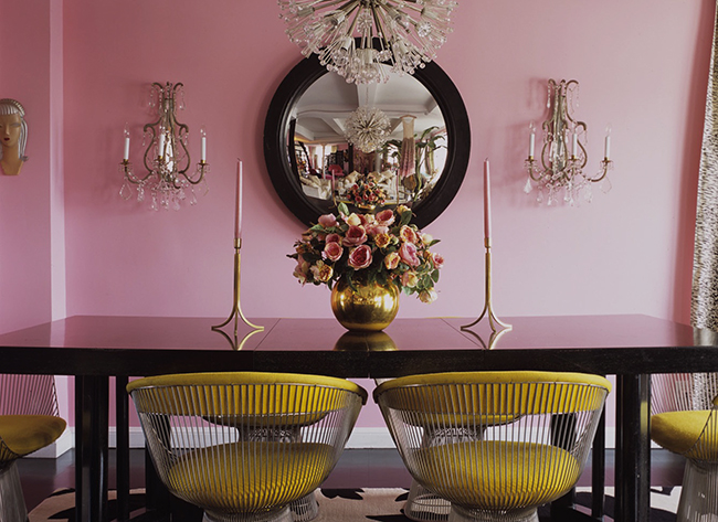 Pretty Dining Room With Pink And Yellow Decor Accents Spring Fashion At Home By Elle
