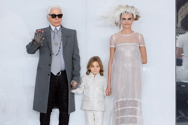 Karl Lagerfeld and Cara Delevingne at Chanel show 2014 Paris Fashion Week