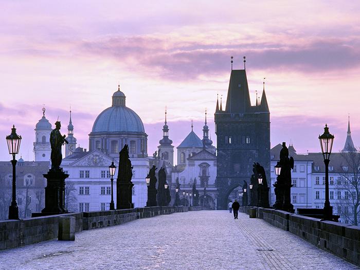 Charles Bridge view Prague romantic cities