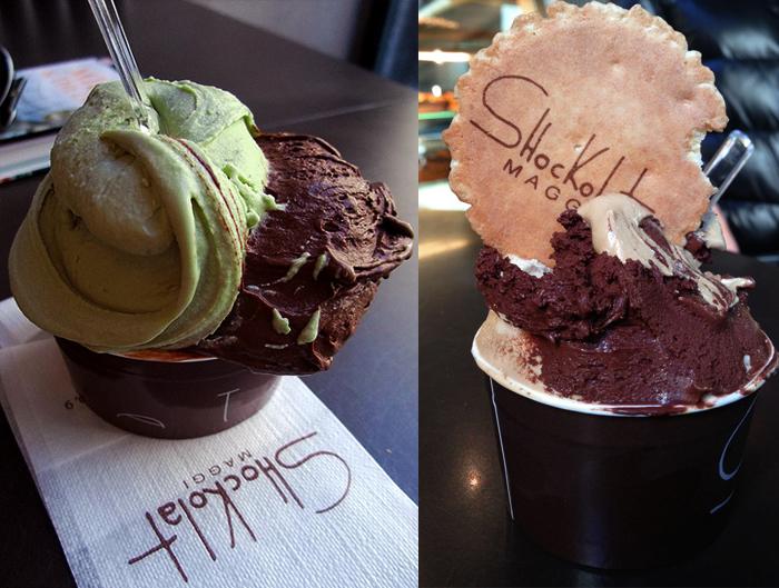 chocolate and pistachio ice cream shockolat