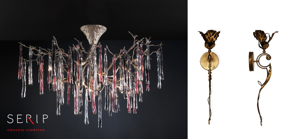 Serip Glamour Chandelier-matching Flora Sconce by KOKET