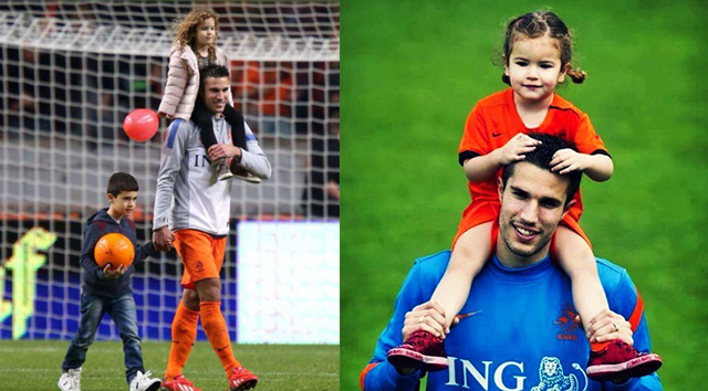 Photo of Robin van Persie & his  Daughter  Dina Layla van Persie