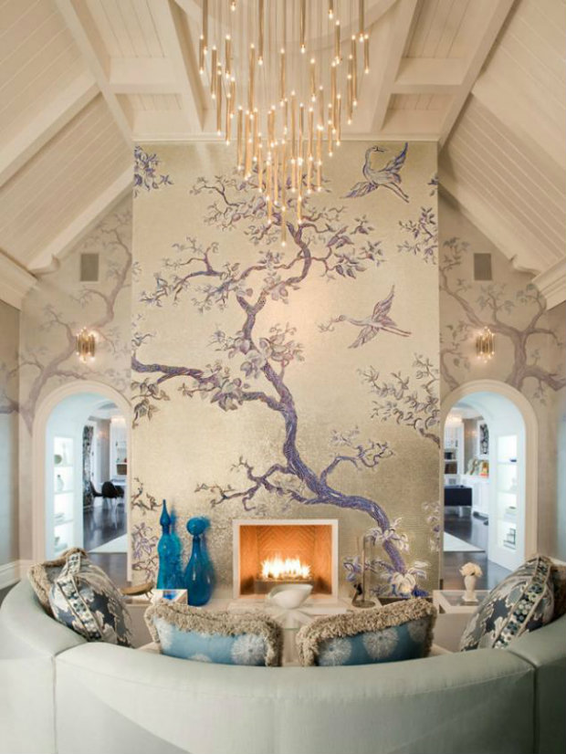 A beautiful use of incorporating the architecture into a living room design.