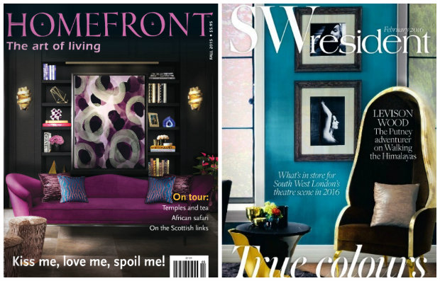 KOKET cover stars! The purple Colette sofa awed in Canada, while the Drapesse chair and Yasmine Side Table took over the UK.