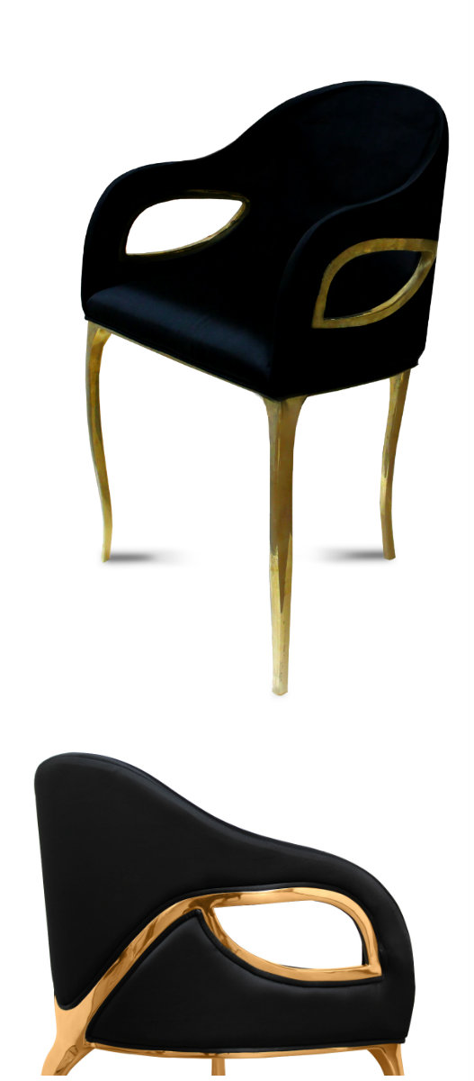 The modern edge of the Chandra chair exudes the feeling of vintage glam.