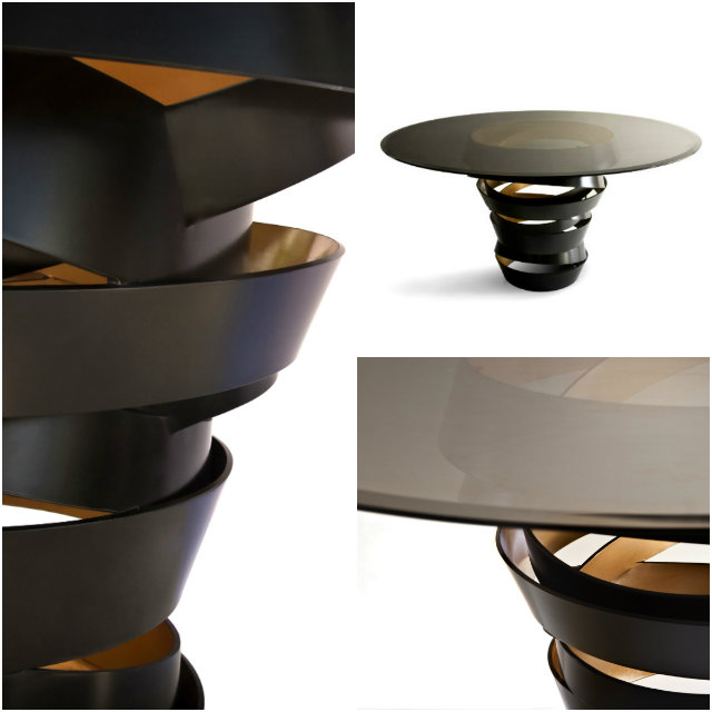 The two tone metal ribbon of the Intuition dining table evokes the mysterious and divine feminine instinct.