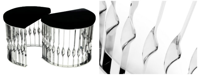 Conceived from a cuff bracelet, the Mandy stool will embellish any setting.