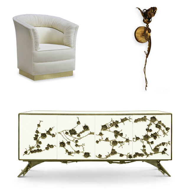 From Left: KOKET Lovely chair inspired by one of Dior's favorite flowers, the Lily; Flora Sconce and Spellbound cabinet with metal orchids.