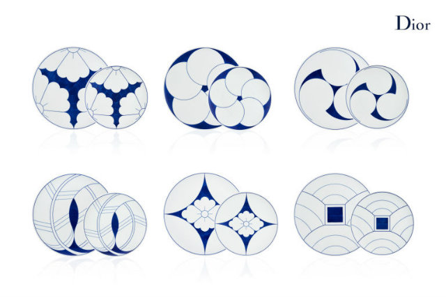 Blue and white plates from the Dior Home collection. Source: Elle Decor