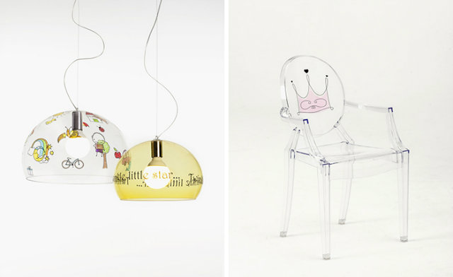 The FL/Y lamp and Lou Lou Ghost chair both have the option to be customized with drawings or images.