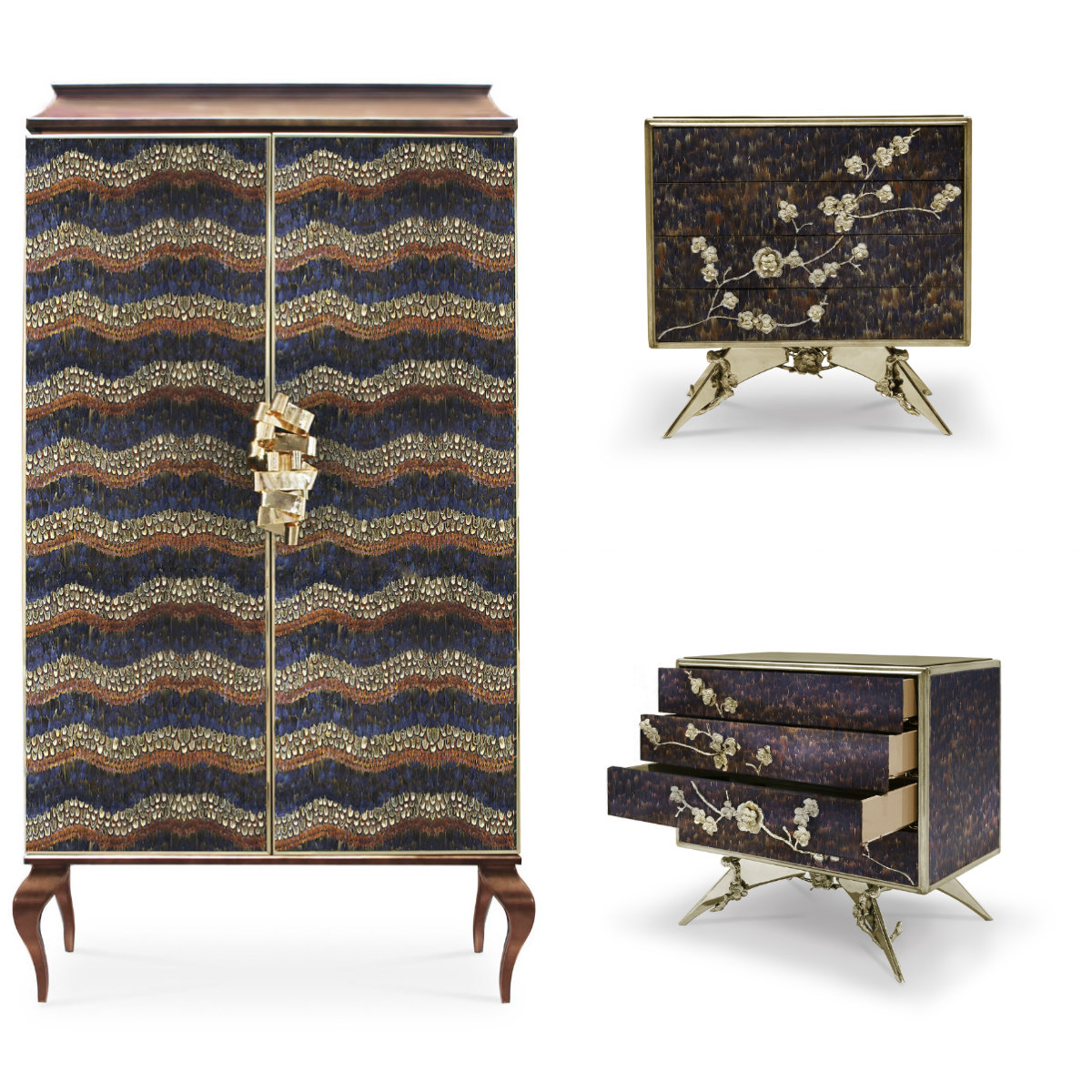 Feathers galore on the Divine Armoire and Spellbound Nightstand. safari Serengeti Seduction: An Exotic KOKET Safari Serengeti Seduction An Exotic KOKET Safari 3