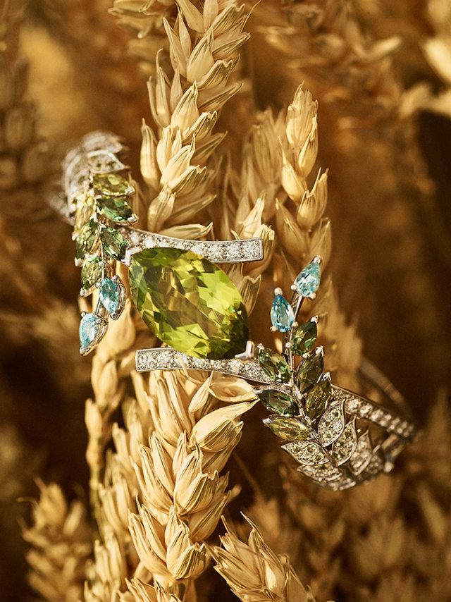 The peridot, diamonds and aquamarine seen here are used in several of the collection's jewelry pieces.