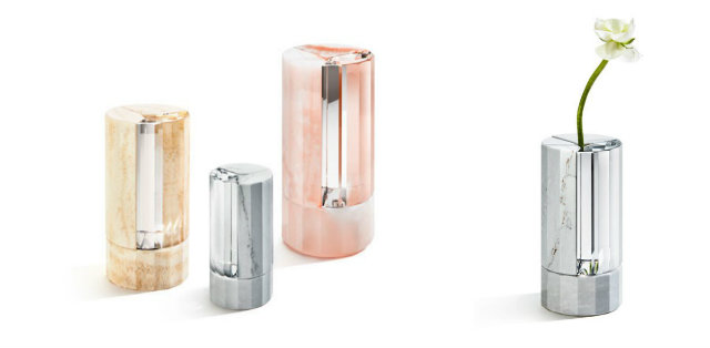 Crystal and marble vases by Aldo Bakker.