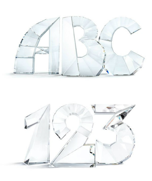 Crystal alphabet and numbers by Ron Arad.