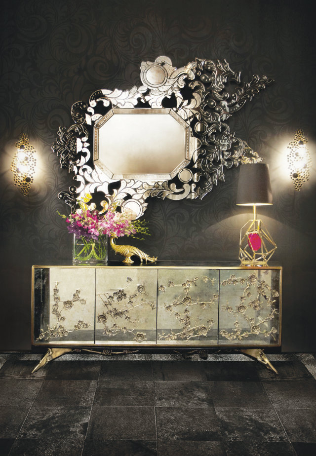 A modern take on the classic Venetian wall mirrors, the Addicta by KOKET makes for an opulent statement. Its subversive glamour is unforgettable and addictive, while mesmerizing its onlooker with bronze glass.