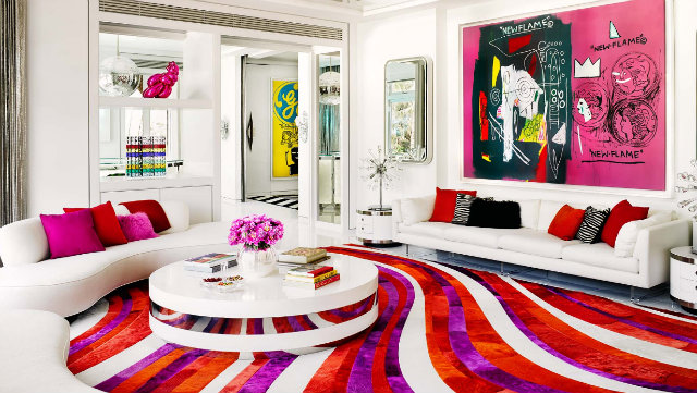 This vibrant interior shows Bullard's adventurous use of colors.