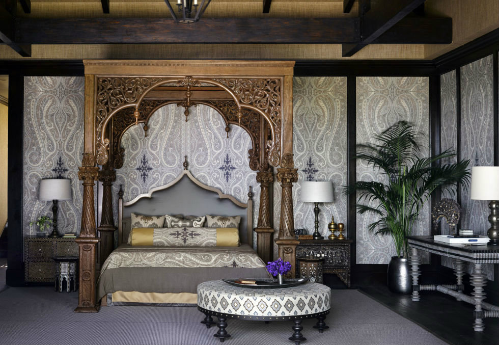 Bullard used his eclectic worldly charm for the room design of this Malibu home.
