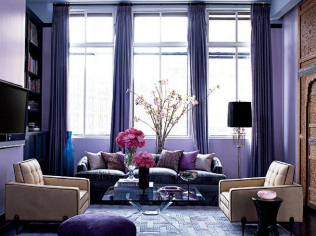 Model Jessica Stam and designer Rafael de Cardenas took a posh purple approach to her Manhattan apartment living room.