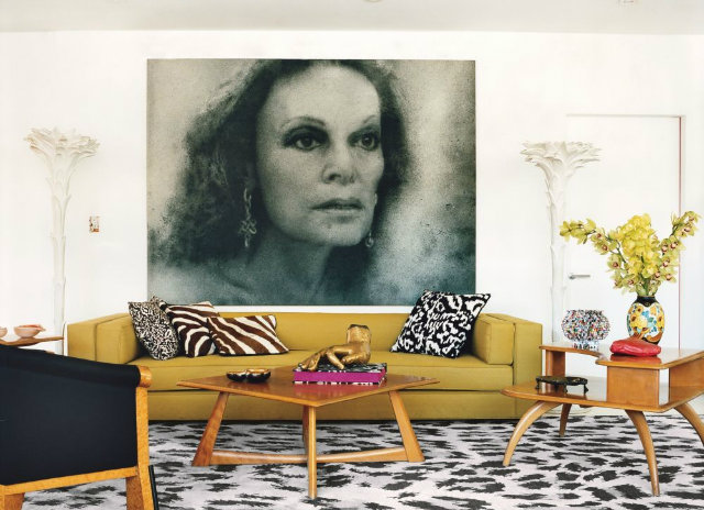 Diane Von Furstenberg's Manhattan penthouse living room features the celebrity herself in the form of a Zhang Huan portrait.