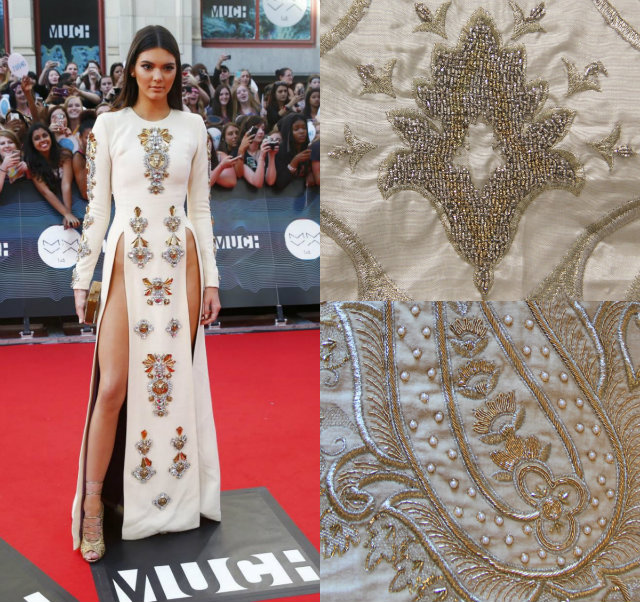 The embellishments on Jenner's daring Fausto Puglisi gown mimic those within the KOKET textiles collection.