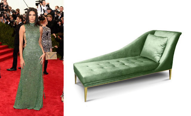 Jenner in a jade Calvin Klein gown at the , and the Envy chaise.