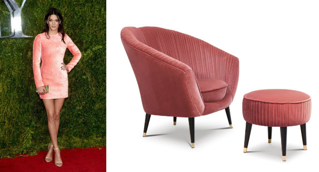 Jenner adorned in a peach Calvin Klein mini dress at the 2015 Tony Awards, and the Audrey chair.