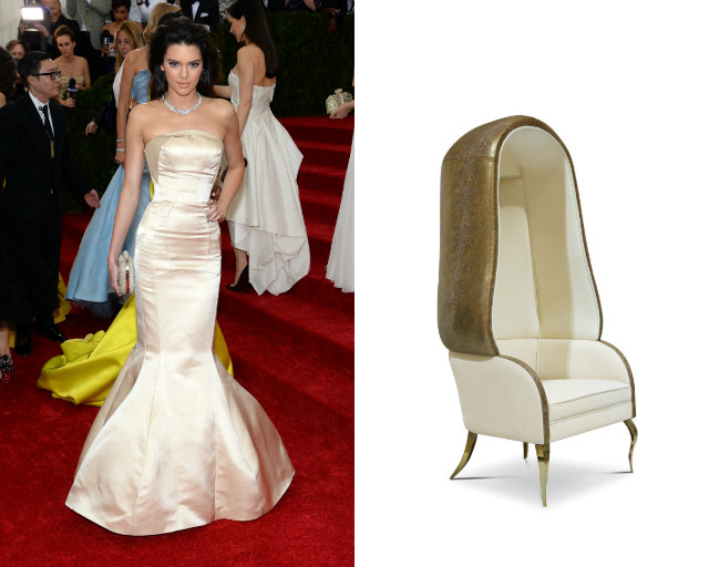 A cream Topshop gown from the 2014 Met Gala and the Drapesse chair.