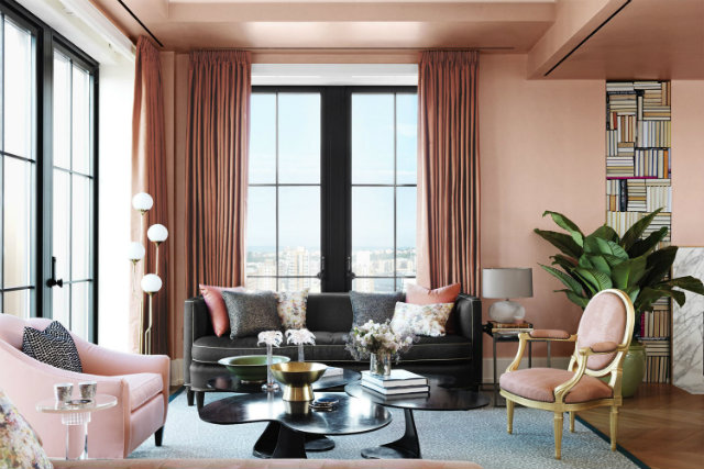 This Manhattan living room project is decorated in tones of Life is a Peach with pops of Gold Hearted in the mix.