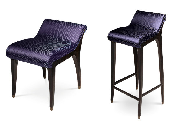 The Incanto bench and bar stool match in Midnight Show.