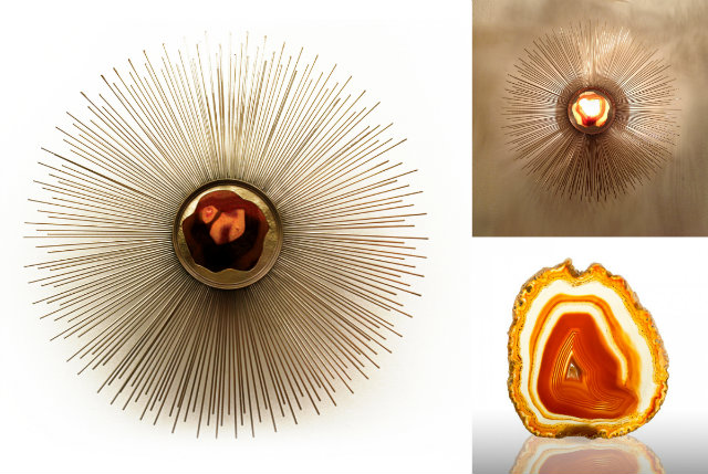 """Described as a """"midcentury modern orange"""" the sunburst Brilliance sconce is all Fired Up."""