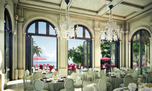 The interior of the beachfront restaurant is a luxurious place to lounge and dine.