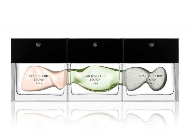 Starck's collection includes three eau de toilettes, 'Peau de Soie', 'Peau de A'llieurs' and 'Peau de Pierre'.