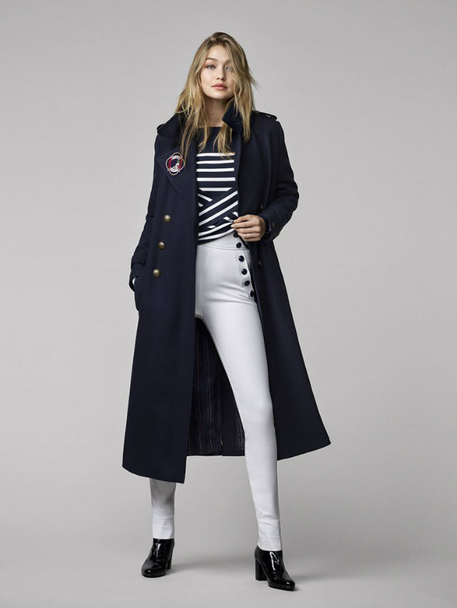 Outfit from the Gigi Hadid X Tommy Hilfiger collaboration.